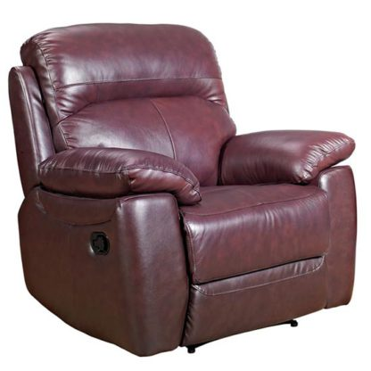 An Image of Aston Leather Recliner Sofa Chair In Chestnut