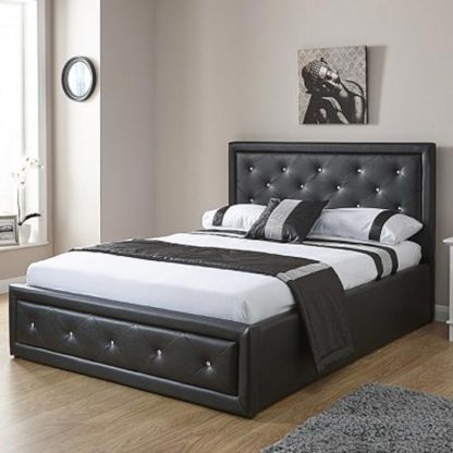 An Image of Hollywood Faux Leather Double Bed In Black