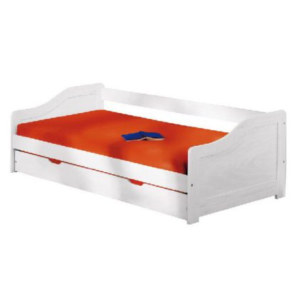 An Image of Leonie Large Day Bed With Pull Out UnderBed In Solid Wood White