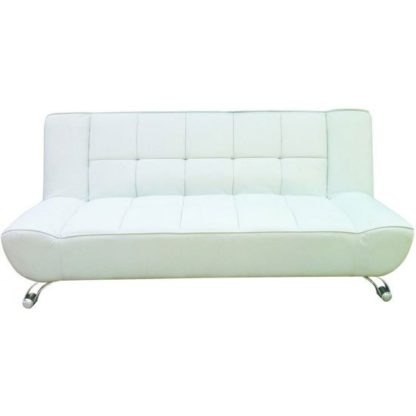 An Image of Vanessa White Faux Leather Sofa Bed