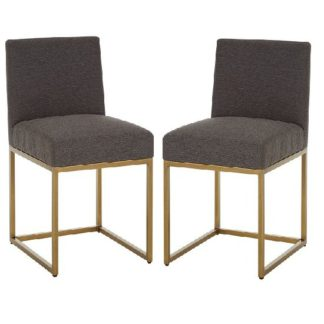 An Image of Chalawan Brass Base Dining Chair With Grey Top in Pair