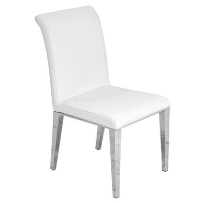 An Image of Kirkland Faux Leather Dining Chair In White With Chrome Legs