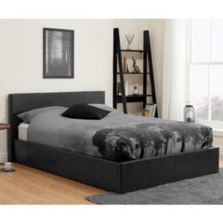 An Image of Berlin Fabric Ottoman Double Bed In Black