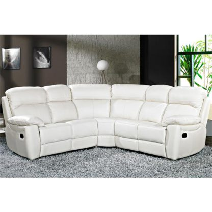 An Image of Aston Leather Corner Recliner Sofa In Ivory