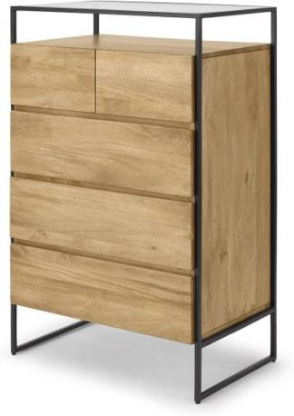 An Image of Kilby Tall Multi Chest of drawers, Light Mango Wood and Glass