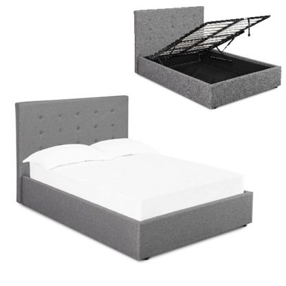 An Image of Rother Storage King Size Bed In Upholstered Grey Fabric