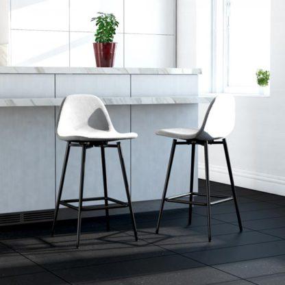 An Image of Calvin Velvet Upholstered Counter Stool In Grey
