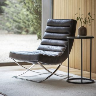 An Image of Kramer Leather Lounge Chair In Black With Metal Frame