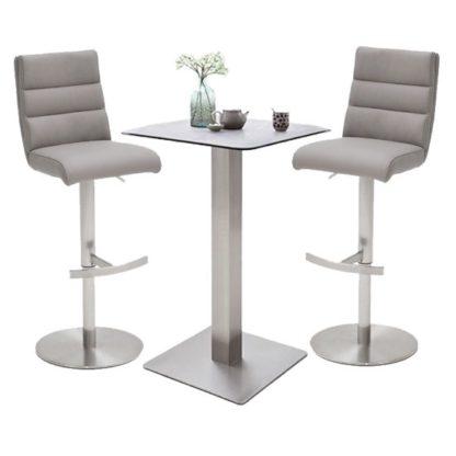 An Image of Soho Glass Bar Table With 2 Hiulia Ice Grey Stools