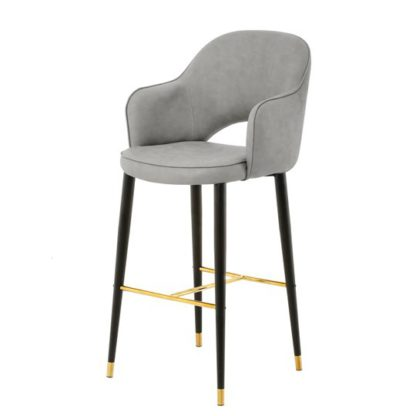 An Image of Hadley Leather Highback Bar Stool In Grey With Black Legs