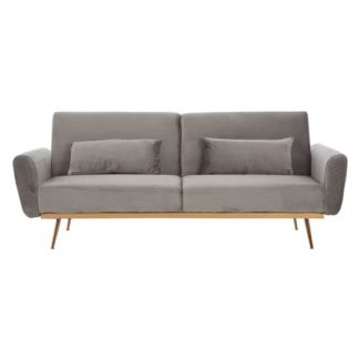 An Image of Eltanin Grey Velvet Sofa Bed With Metallic Gold Legs