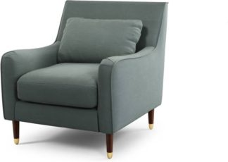 An Image of Content by Terence Conran Oksana Armchair, Athena Dark Grey with Dark Wood Brass Leg