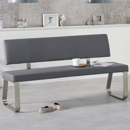 An Image of Celina Large Dining Bench In Grey Faux Leather