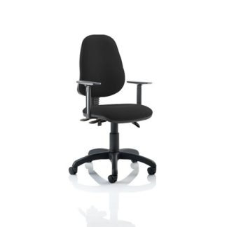 An Image of Redmon Fabric Office Chair In Black With Height Adjustable Arms