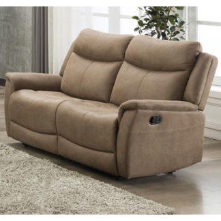 An Image of Arizona Fabric 2 Seater Manual Recliner Sofa In Caramel