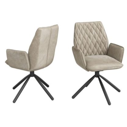 An Image of Zanetti Swivel Mink Velvet Fabric Dining Chairs In Pair