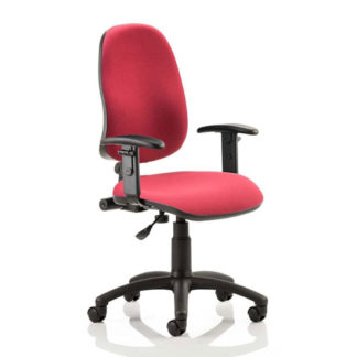 An Image of Eclipse Plus I Office Chair In Wine With Adjustable Arms