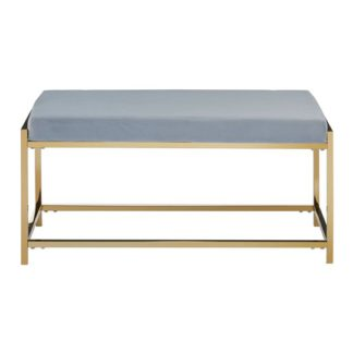 An Image of Alluras Powder Blue Velvet Bench With Gold Base