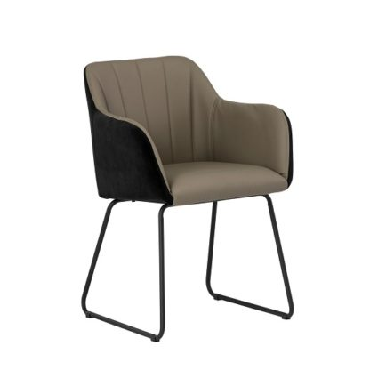 An Image of Greco Arm Chair In Taupe Faux Leather And Black Velvet