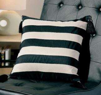 An Image of Ivory and Black Stripes With Tassels