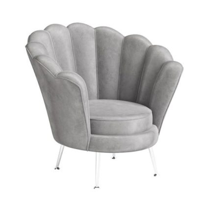 An Image of Erica Velvet Fabric Lounge Chair In Silver Grey