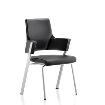 An Image of Cooper Visitor Office Chair In Black Bonded Leather