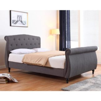 An Image of Marianna Linen Fabric Double Bed In Dark Grey