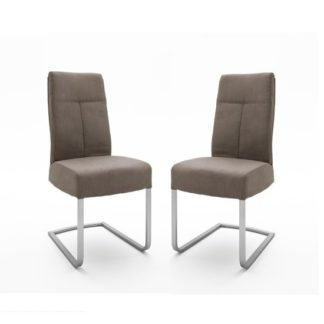 An Image of Ibsen Modern Dining Chair In Leather Look Sand In A Pair