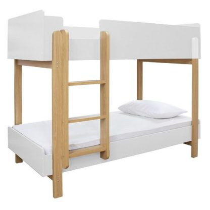 An Image of Marisol Wooden Bunk Bed In Matt White And Oak
