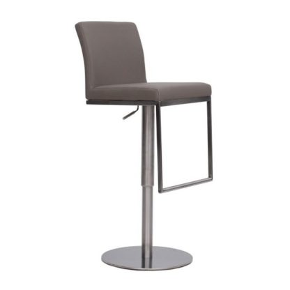 An Image of Bahama Bar Stool In Taupe PU With Brushed Stainless Steel Base
