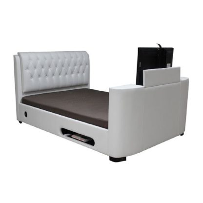 An Image of Cosmo White Faux Leather Finish King Size TV Bed