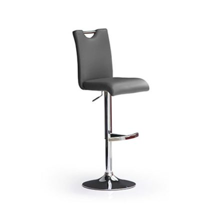 An Image of Bardo Grey Bar Stool In Faux Leather With Round Chrome Base