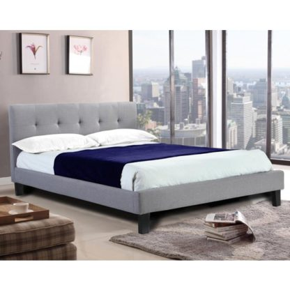 An Image of Hollywell Linen Fabric King Size Bed In Grey