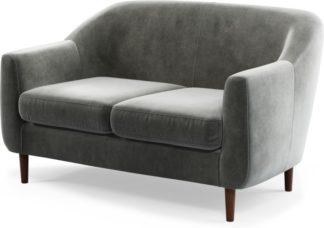 An Image of Custom MADE Tubby 2 Seater Sofa, Steel Grey Velvet with Dark Wood Legs