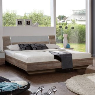 An Image of Jenny Wooden Double Bed In Muddy Oak And Light Grey