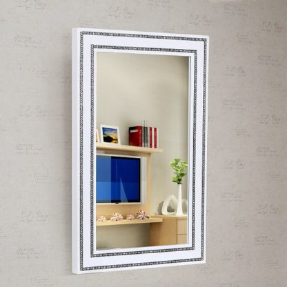 An Image of Diamante Wall Mirror In White High Gloss With Rhinestones