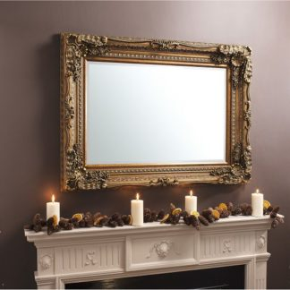 An Image of Louisa Baroque Style Wall Mirror Rectangular In Gold