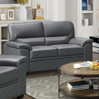 An Image of Rachel LeatherGel And PU 2 Seater Sofa In Grey