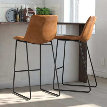 An Image of Bowden Upholstered Molded Barstool In Caramel Maple