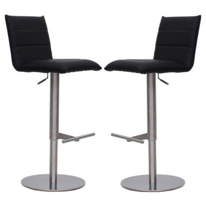 An Image of Verlo Bar Stools In Black Faux Leather In A Pair