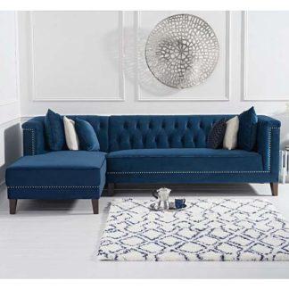 An Image of Tislit Velvet Left Facing Chaise Sofa Bed In Blue