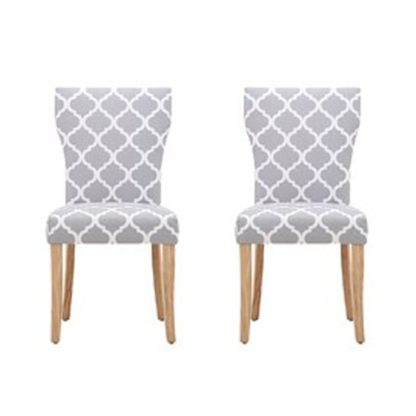 An Image of Hugo Patterned Dining Chair In Pair