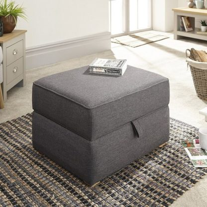An Image of Barkley Fabric Storage Footstool Square In Hopsack Grey