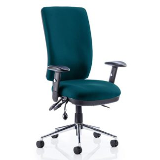 An Image of Chiro High Back Office Chair In Maringa Teal With Arms