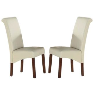 An Image of Sika Cream Leather Dining Chairs In Pair With Acacia Legs