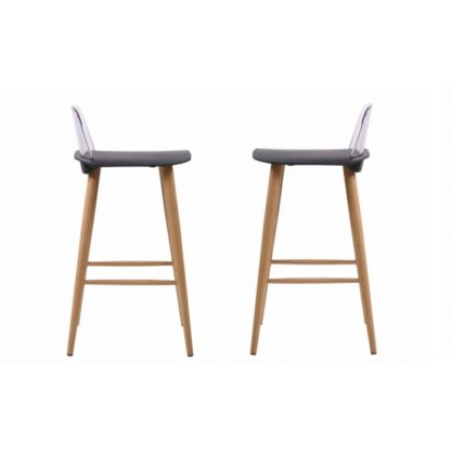 An Image of Madisson Black Bar Stool With Oak Look Metal Legs In A Pair