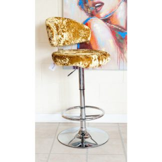 An Image of Crushed Velvet Bar Stool In Gold With Chrome Base