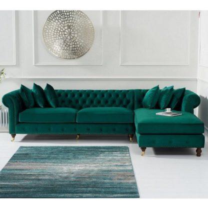 An Image of Nesta Chesterfield Right Corner Sofa In Green Velvet