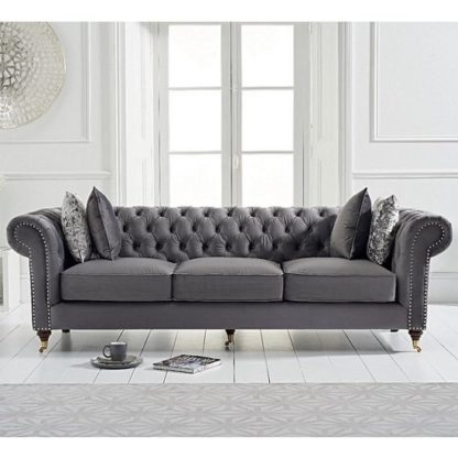 An Image of Holbrook Chesterfield 3 Seater Sofa In Grey Velvet