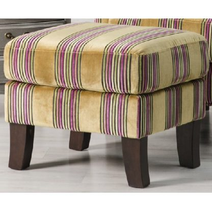 An Image of Humphrey Fabric Footstool In Gold With Wooden Feet